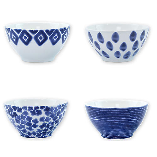 Asst. of 4 Santorini Cereal Bowls, Blue/White