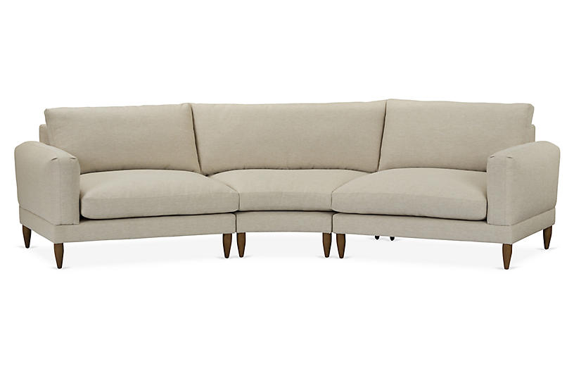 Saxton 3-Pc Sectional, Beige