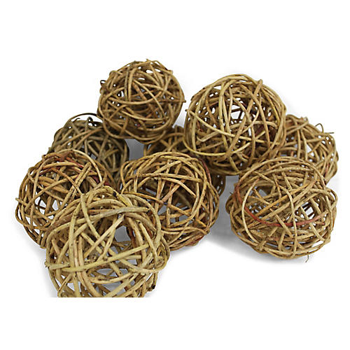 S/9 Curly Willow Balls, Dried