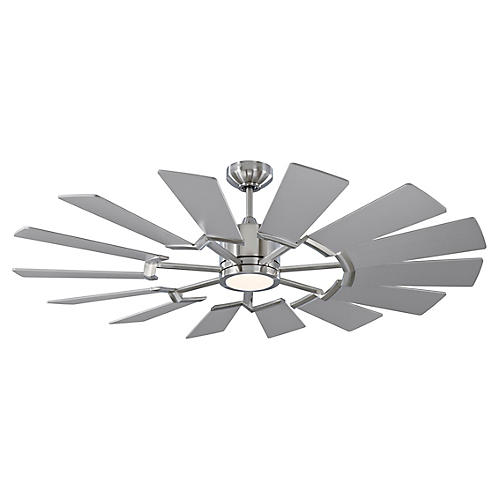 Prairie LED Ceiling Fan, Brushed Steel