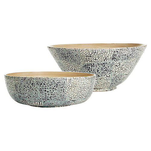 Asst. of 2 Bamboo Eggshell Bowls, Celadon