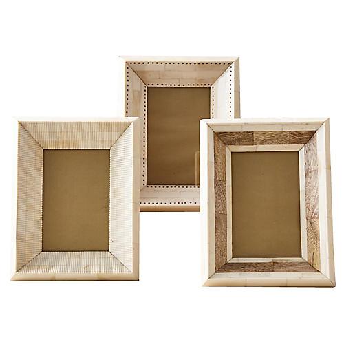 Asst. of 3 Seiko Picture Frames, Bone/Natural