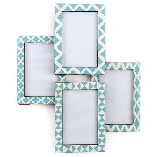 Asst. of 5 Boxter Picture Frames, Sky Blue