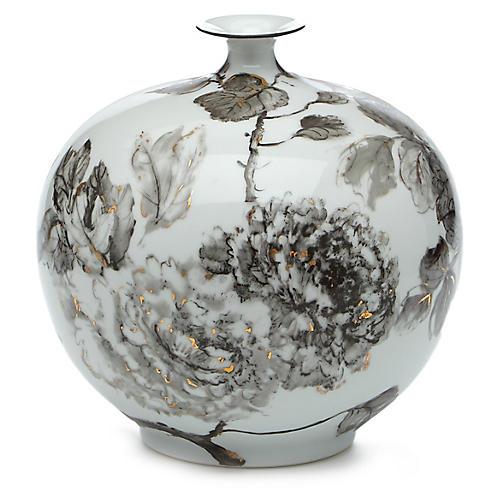 """11"""" Shayna Small Vase, Black/Gold"""