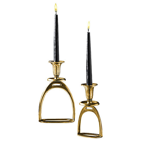 Asst. of 2 Foal Candleholders, Antiqued Gold