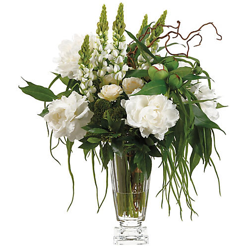 "30"" Cream Peony Arrangement w/ Vase, Faux"
