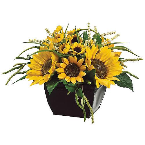 """14"""" Sunflower & Amaranthus Mix w/ Planter, Faux"""