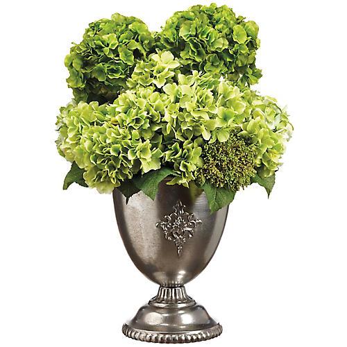 "31"" Leafy Hydrangea Arrangement, Faux"