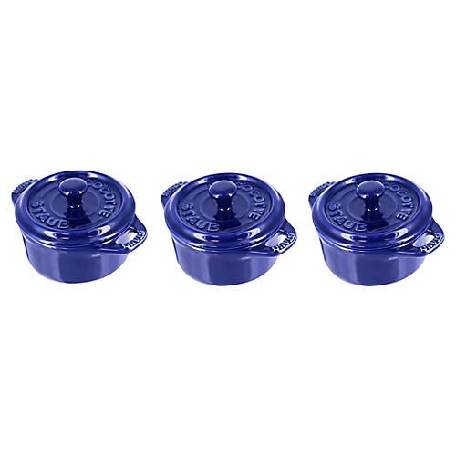 3-Pc Mini Round Cocottes, Navy
