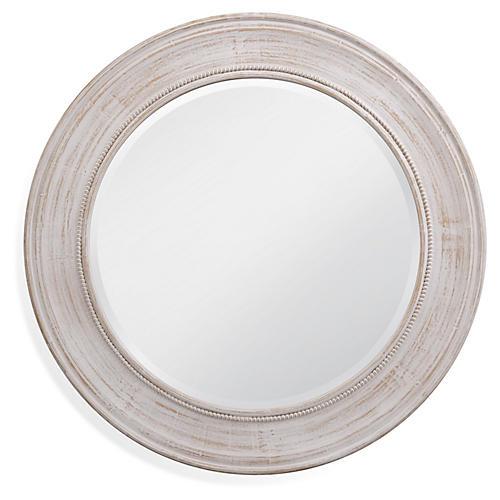 Sanders Round Wall Mirror, White