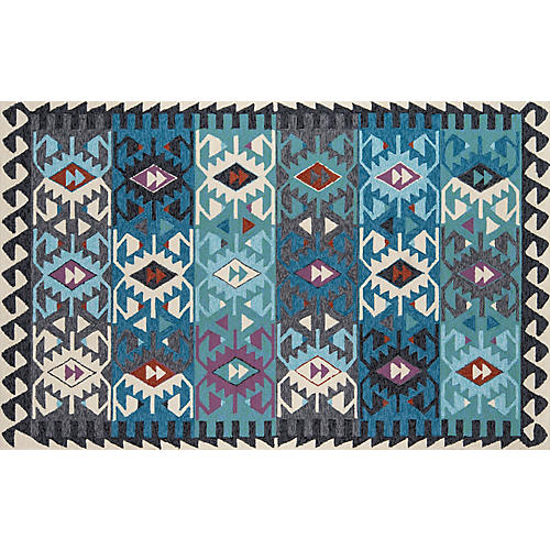 Lea Outdoor Rug, Blue/Multi
