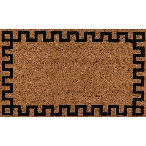 """1'6""""x2'6"""" Greek Key Border Doormat, Natural"""