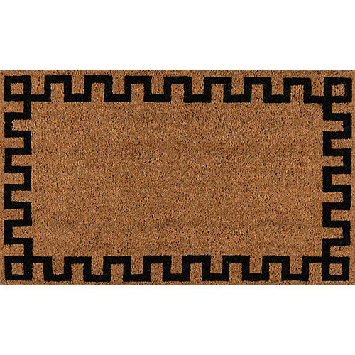 "1'6""x2'6"" Greek Key Border Doormat, Natural"