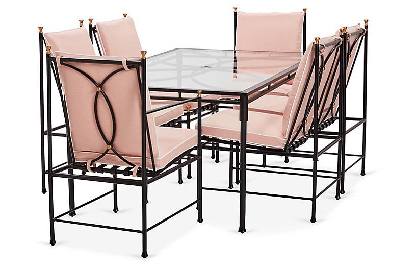 Frances 7-Pc Dining Set, Blush Pink/White