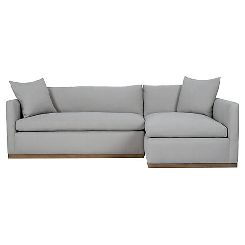 Francis Right-Facing Sectional, Light Gray Linen