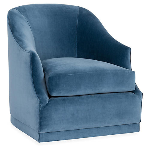 Brooke Swivel Club Chair, Harbor Blue Velvet