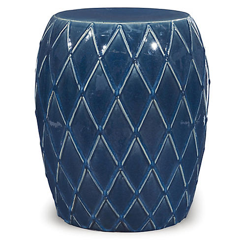 Harlequin Garden Stool, Blue