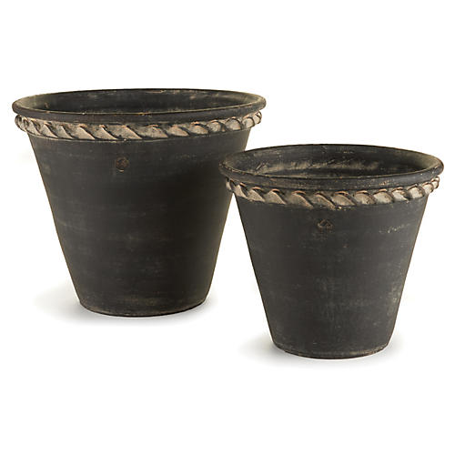 Asst. of 2 Dismas Outdoor Planters, Black Earth