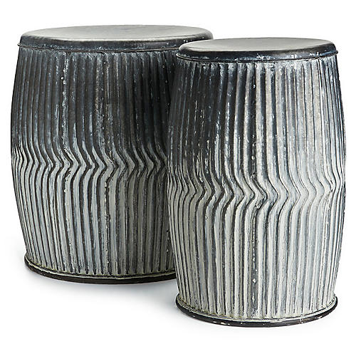 Asst. of 2 Dry Creek Stools, Washed Gray
