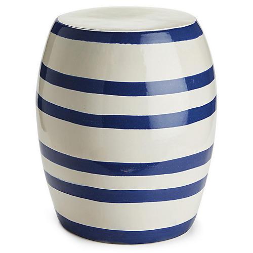 Bayside Garden Stool, Blue/White