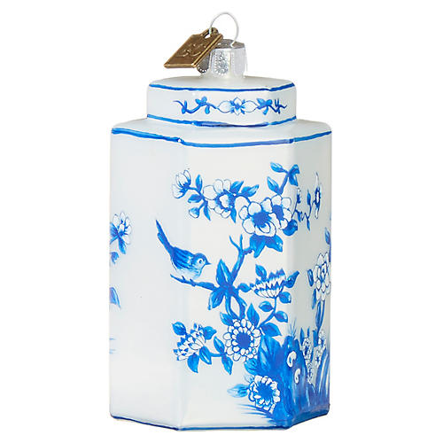 Chinoiserie Ginger Jar Ornament, Blue/White