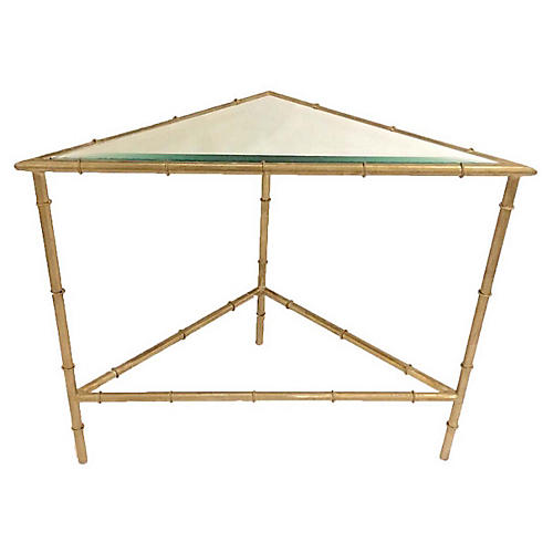 Triangle Side Table, Champagne Silver