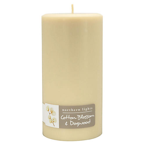 Palette Tall Pillar Candle, Cotton & Dogwood