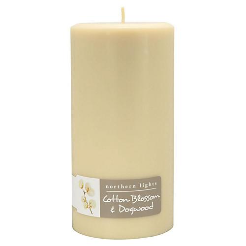 Palette Tall Pillar Candle, Cotton & Dogwood