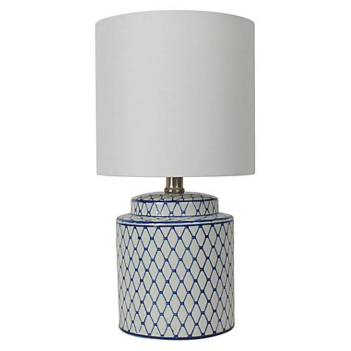 Archer Table Lamp, Blue/White