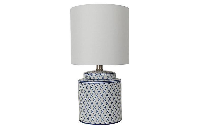 Archer Table Lamp, Blue/White