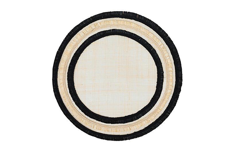 Ruffle-Edge Straw Place Mat, Black/Natural