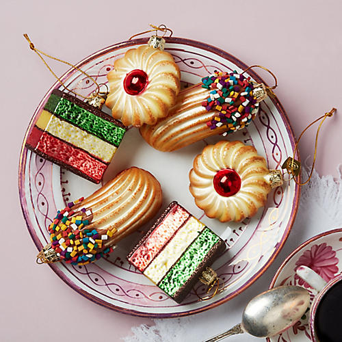 Asst. of 6 Italian Pastry Ornaments, Red/Multi