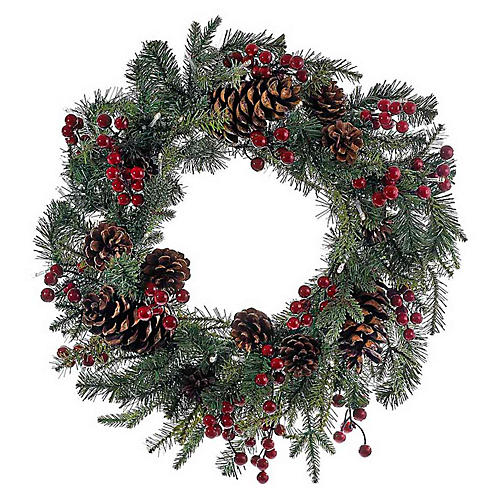 Berry & Pinecone Faux Wreath, Green/Red