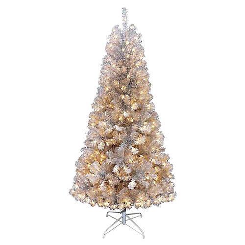 Silver Pine Pre-Lit Faux Tree, Silver