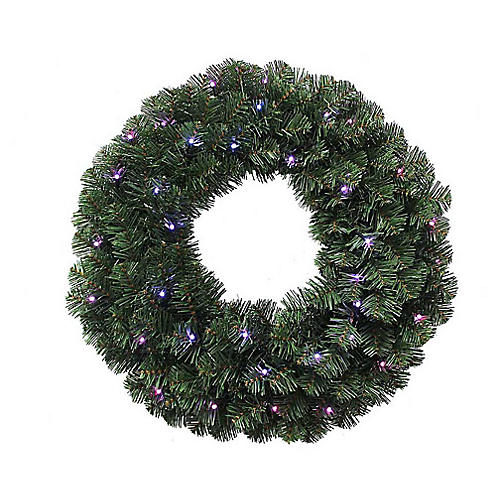 Twinkly LED-Lit Faux Wreath, Green/Multi