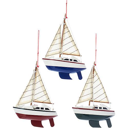 Asst. of 3 Wooden Yacht Ornaments, Blue