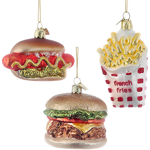 Asst. of 3 Fast Food Ornaments, Red
