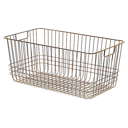 "20"" Solano Long Storage Basket, Copper"