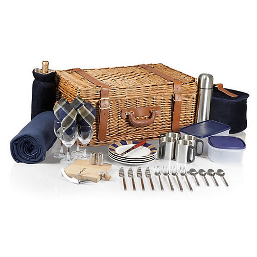 Royal Picnic Basket Set, Navy Plaid