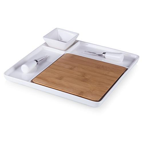 Peninsula Serving Tray Set, White/Natural
