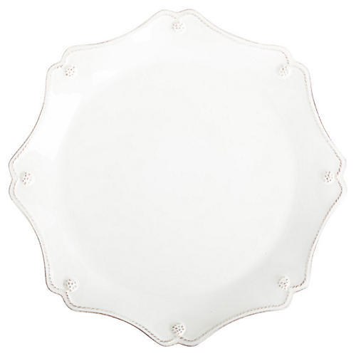 Berry & Thread Scalloped Charger, White
