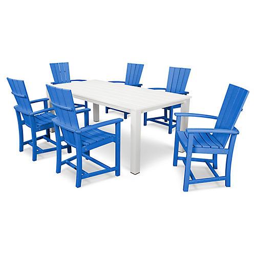 Quattro 7-Pc Dining Set, Pacific Blue/White