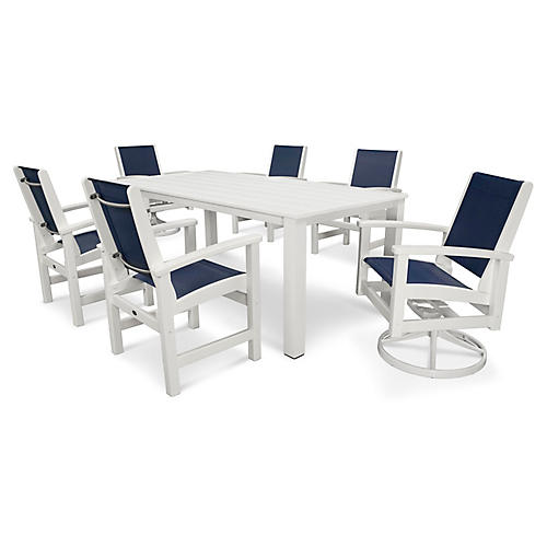 Coastal 7-Pc Harvest Dining Set, Navy