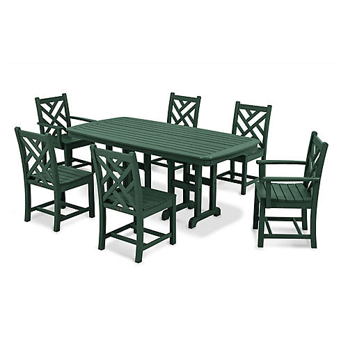 Chippendale 7-Pc Dining Set, Green