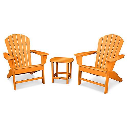 South Beach 3-Pc Adirondack Set, Tangerine