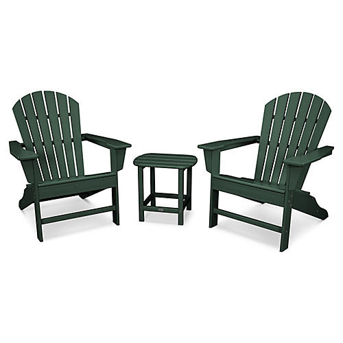 South Beach 3-Pc Adirondack Set, Green