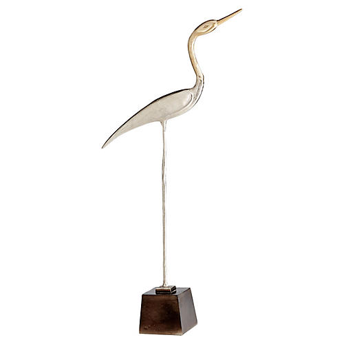 "40"" Shorebird 2 Sculpture, Nickel/Bronze"