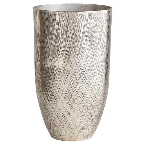 Seav Floor Vase, Antiqued Silver