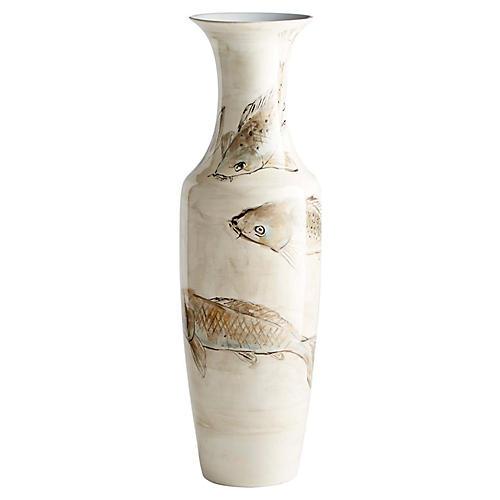 """32"""" Koi Vase, Tan/Ivory"""