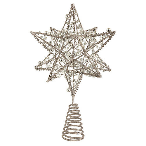 Wire Star Tree Topper, Silver